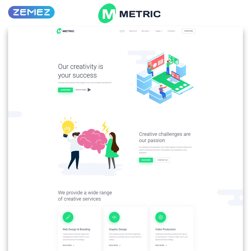 Metric - Web Development Creative Multipage HTML